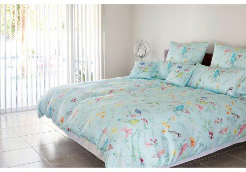 elegante Sommerliche Satin Bettwäsche Snowbirds Design No. 2255