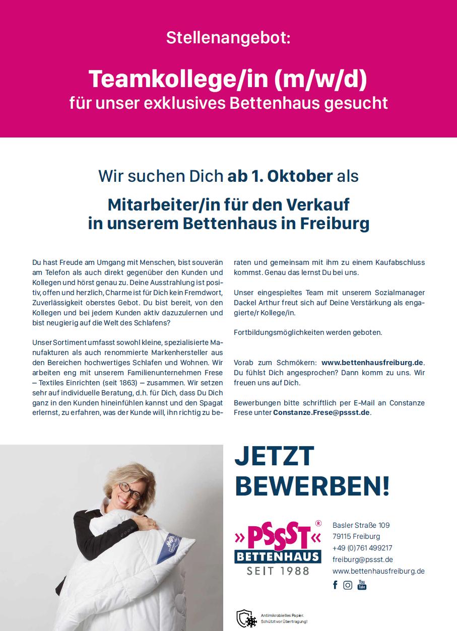 Mitarbeiter/in für den Verkauf in unserem Bettenhaus in Freiburg gesucht
