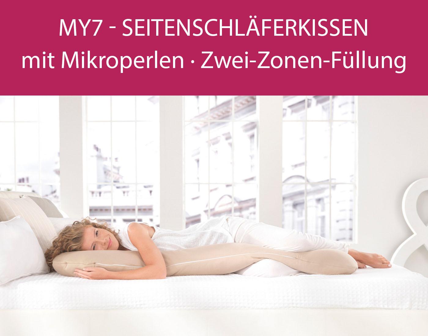 my7 - Seitenschläferkissen mit Mikroperlen Zwei-Zonen-Füllung